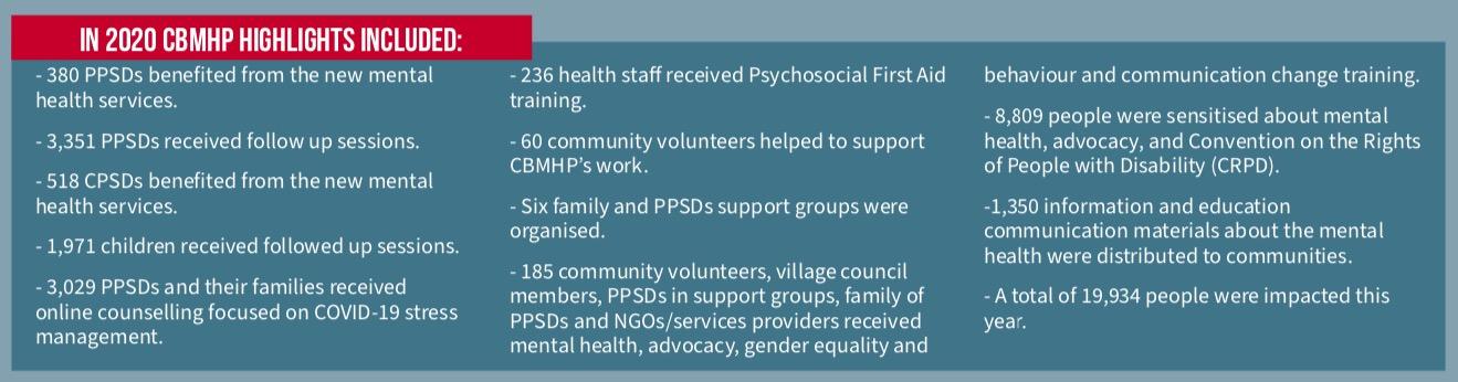 Ergebnisse 2020 des Mental Health Programmes